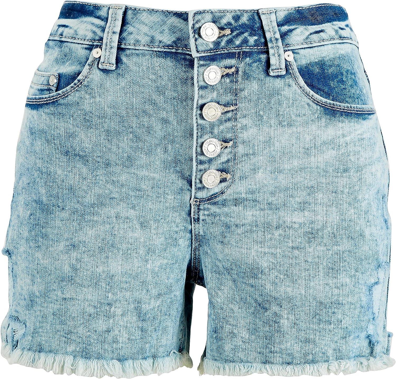 Indigo Rein Juniors Faded Buttoned Denim Shorts 11 Light wash