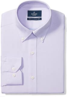 "Buttoned Down Men's Tailored Fit Button-Collar Solid Non-Iron Dress Shirt (No Pocket), Purple, 16.5"" Neck 37"" Sleeve"