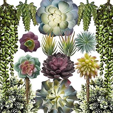 Caqpo Artificial Succulents - 15 Pack - Premium Unpotted Succulent Plants Artificial - Realistic Textured Succulents - Fake S