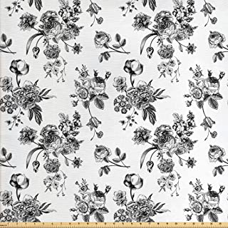 Ambesonne Black and White Fabric by The Yard, Vintage Floral Pattern Victorian Classic Royal Inspired New Modern Art, Decorative Fabric for Upholstery and Home Accents, 3 Yards, Black and White