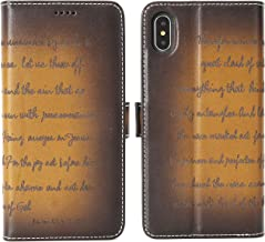 iPulse Bible Verse for iPhone Xs Max Vegetable Tanned Full Grain Leather Flip Wallet Case for Apple iPhone Xs MAX with Magnetic Closure - Retro Cognac