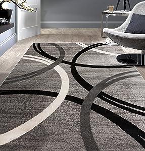 Rugshop Modern Wavy Circles Design Area Rug 5' 3