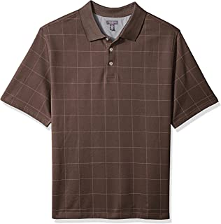 Van Heusen Men's Big and Tall Flex Short Sleeve Stretch Windowpane Polo Shirt