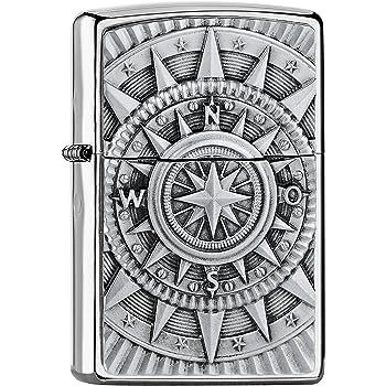 Zippo Compass Emblema Accendino a Benzina, Ottone, Acciaio Inox, 1x 6x 6cm