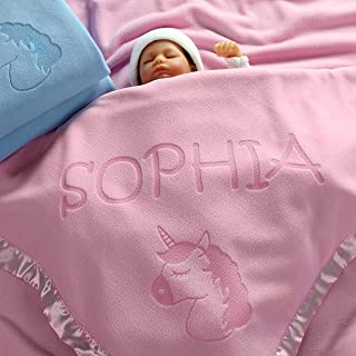 Unicorn Baby Blanket Gifts, Little Girls Personalized Girl Nursery Crib Bedding (1 Line of Text)