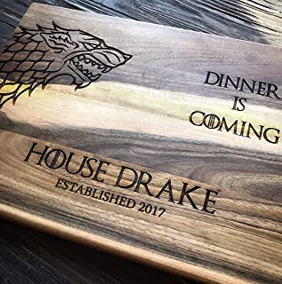 Personalized Cutting Board Dinner is coming Game of thrones House Stark Direwolf Engraved Custom Family chopping Wedding G...
