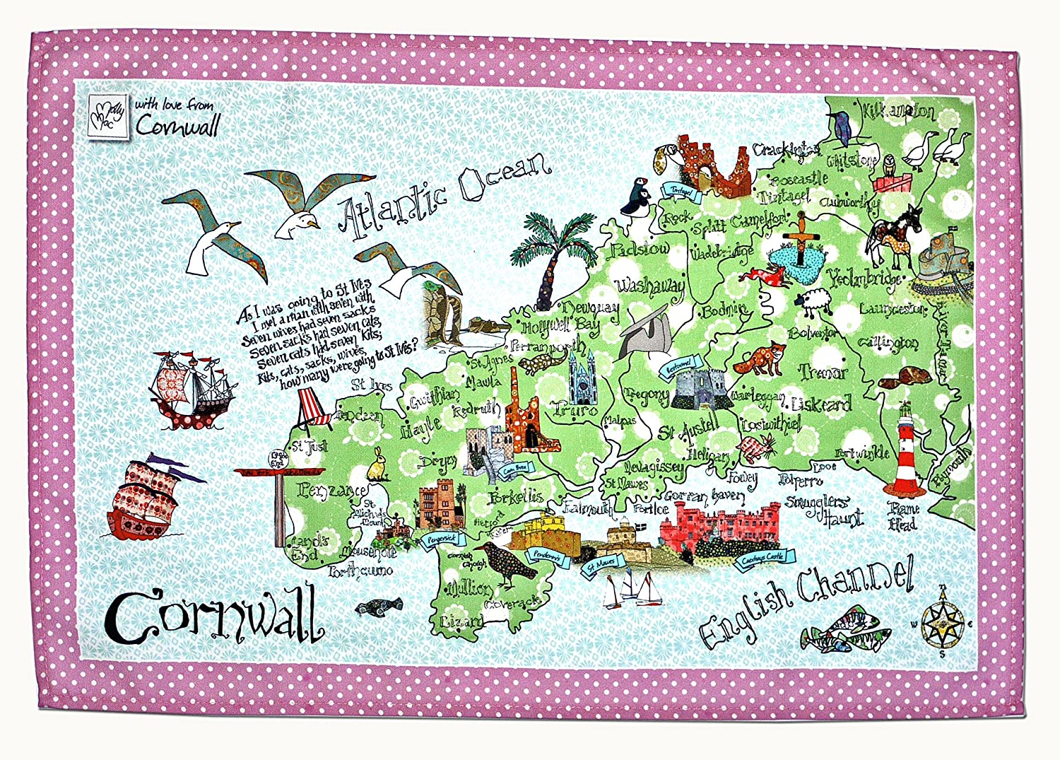 MollyMac MAP At the price of surprise Cornwall Tea Towel Kitchen Decor C Max 59% OFF Pretty Home
