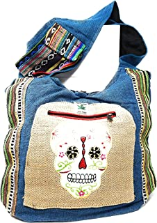 Sugar Skull Purse Cross Body Hobo Bag Handcrafted