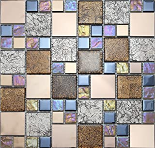 Iridescent Glass Metal Mosaic Tiles for Wall, LSGD01