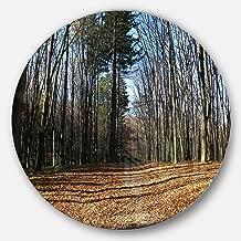 """designart mt13937°C11مناسبة لفصل الخريف في الغابة في ضوء الشمس & الظلال وأظهر الحديث قرص الغابة ، مقاس 11"""" X 11"""" ، أزرق اللون"""