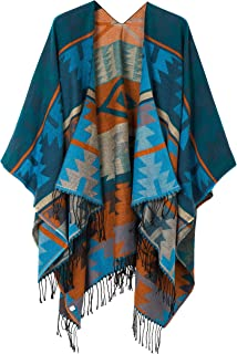 Urban CoCo Women's Printed Tassel Open front Poncho Cape Cardigan Wrap Shawl