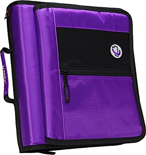 Case-it 2-Inch Round Ring Zipper Binder with Velcro Messenger Front, Purple, M-276-PUR