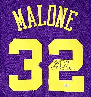 Karl Malone Utah Jazz Signed Autographed Purple #32 Custom Jersey