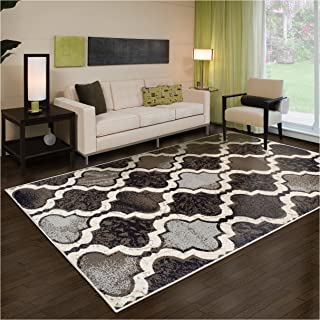 Superior Modern Viking Collection Area Rug, 8mm Pile Height with Jute Backing, Chic Textured Geometric Trellis Pattern, Anti-Static, Water-Repellent Rugs - Chocolate, 4' x 6' Rug