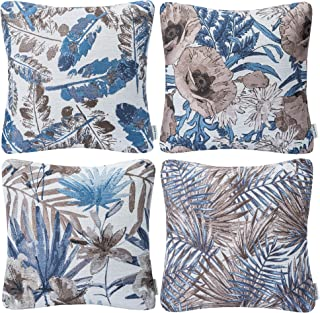 Mika Home Set of 4 Blue Garden Series Throw Pillow Covers Pillow Cases for Sofa Couch Home Decorations Flowers and Leaves 18