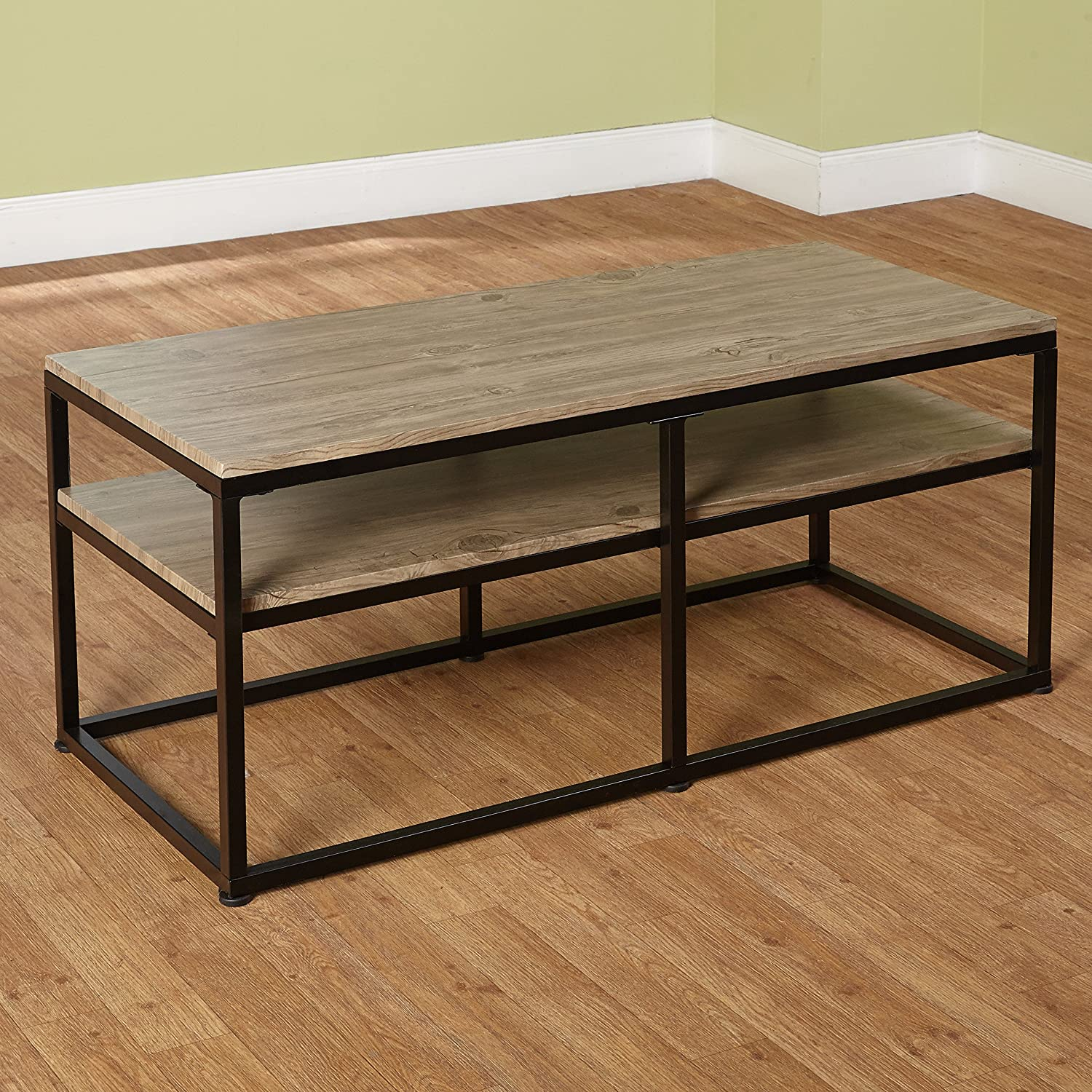 Target Marketing Systems Piazza Collection Modern Reclaimed Sleek Coffee Table, with Open Shelves, Wood Metal