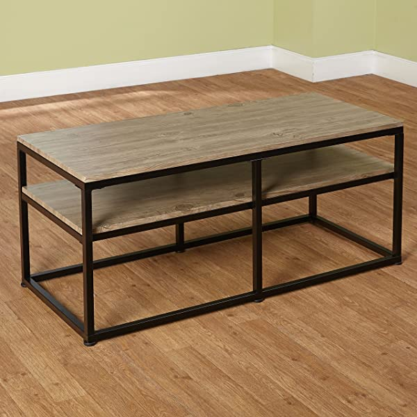 Target Marketing Systems Piazza Collection Modern Reclaimed Sleek Coffee Table With Open Shelves Wood Metal