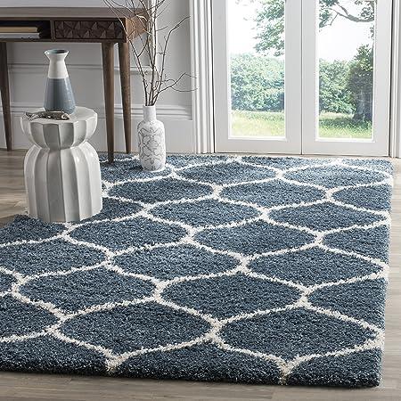 Amazon Com Safavieh Hudson Shag Collection Sgh280l Moroccan Ogee Trellis 2 Inch Thick Area Rug 8 X 10 Slate Blue Ivory Furniture Decor