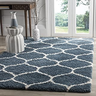 Safavieh Hudson Shag Collection SGH280L Slate Blue and Ivory Moroccan Ogee Plush Area Rug (8' x 10')