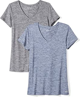 Amazon Essentials Women's 2-Pack Tech Stretch Short-Sleeve V-Neck T-Shirt