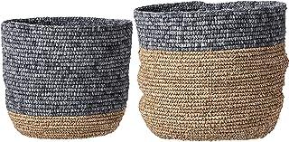 Bloomingville Set of 2 Beige & Grey Natural Seagrass Baskets, Natural & Grey
