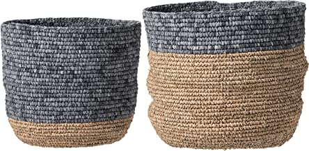 Bloomingville Set of 2 Beige & Grey Natural Seagrass Baskets, Natural & Grey