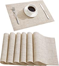 DOLOPL Placemats Placemat Waterproof Placemats Set of 6 Table Mats Easy to Clean Heat Resistant Non Slip Wipeable Placemat for Kitchen Dining Restaurant (Beige)