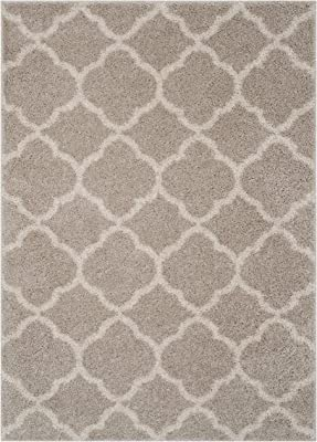 Safavieh New York Shag Collection SG168F Moroccan Trellis 1.18-inch Thick Area Rug, 8' x 10', Light Grey/Ivory