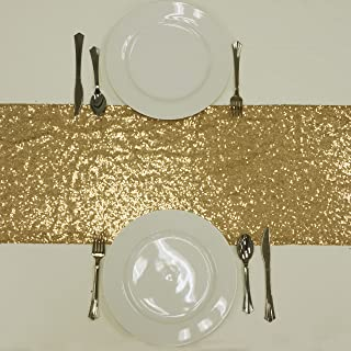 BalsaCircle 12 x 108-Inch Gold Sequined Table Top Runner - Wedding Party Reception Occasions Linens Decorations