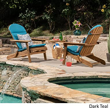 Christopher Knight Home 304635 Terry Outdoor Water-Resistant Adirondack Chair Cushions (Set of 2), Dark Teal