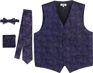 Gioberti Men's Formal 4pc Paisley Vest Necktie Bowtie and Pocket Square