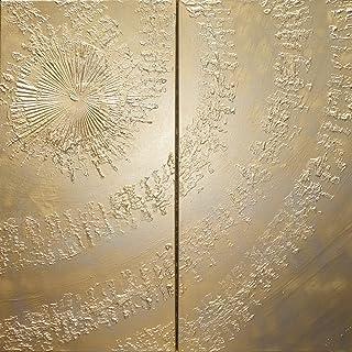 oro remolino Abstracto A633 - díptico industrial con textura, arte original, pinturas abstractas con textura del artista K...