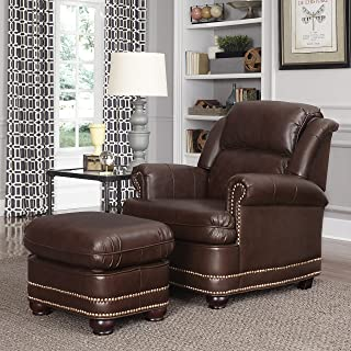 Beau Brown Stationary Chair and Ottoman by Home Styles