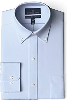 "Buttoned Down Amazon Brand Men's Classic Fit Button-Collar Pinpoint Non-Iron Dress Shirt, Light Blue, 17.5"" Neck 36"" Sleeve"