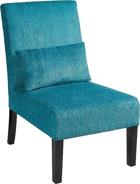 红钩玛蒂娜当代软垫无扶手口音椅子与靠背枕头加勒比蓝色