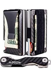 Slim Carbon Fiber Wallet Money Clip RFID Protector Elastic Band Card holder Piketo
