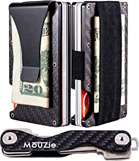 Carbon Fiber Money Clip + Cash Strap Band Slim Aluminum RFID Blocking Minimalist Premium Front Pocket Credit Card Holder Wallet + Compact Key Organizer Keychain Set Gift For Men Women