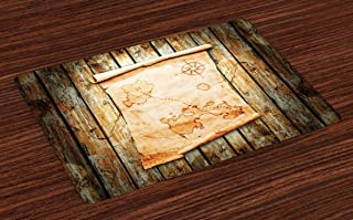 Ambesonne Island Map Place Mats Set of 4, Treasure Map on Rustic Timber X Marks The Grunge Spot Nautical Pirates Concept, Washable Fabric Placemats for Dining Room Kitchen Table Decor, Cream Brown