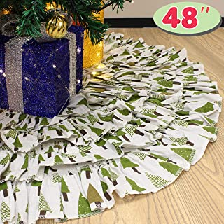 JOYIN Christmas Burlap Ruffle Trim Tree Skirt, 48-inch Diameter Tree Skirt Christmas Decoration
