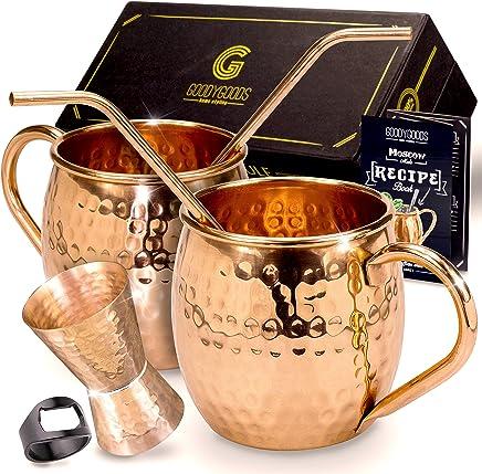 Preisvergleich für Moscow Mule Kupfer Tassen,: machen jedes Getränk Geschmack Viel Besser. 100% reines Kupfer Set inkl. 2 Tassen, 2 Trinkhalme, Rezeptbuch, reinigungshinweise & Reinigungstuch.
