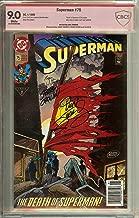 Autographed Superman #75 Death NM Signed 3x Roger Stern, Jerry Ordway, & Dan Jurgens CBCS 9.0 not CGC + 1 FREE BONUS UNSIGNED SUPERMAN BOOK