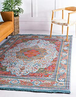 Unique Loom Baracoa Collection Bright Tones Vintage Traditional Light Blue Area Rug (8` 4 x 10` 0)