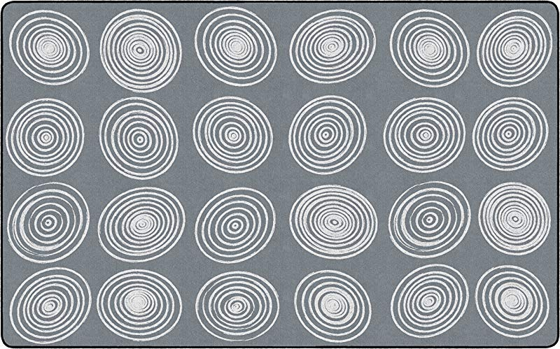 Flagship Carpets FE415 44A Circles Grey White Seats 24 Children S Classroom Seating Rug Rectangle 7 6 X12