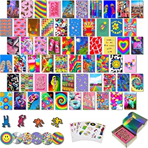 Bambluby 70 PCS Indie Room Decor for Aesthetic Bedroom, Kidcore Aesthetic Wall Collage Kit, Retro Photo Wall Collage Kit, Y2k Wall Decor, Y2k Hippie Trippy Kidcore Grunge, Photo Wall Decorations for Teen Girls, Cute Room Decor