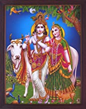 Handicraft Store Lord Radha & Krishna with His Cow & Peacock and Dear in Forest, a Decorative Religious Poster with Beautiful Frame,