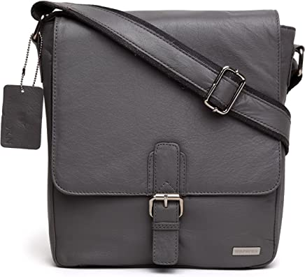 WILDHORN Leather 10 inches Grey Messenger Bag (MB265)
