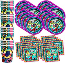 80's Totally Awesome Birthday Party Supplies Set Plates Napkins Cups Tableware Kit for 16