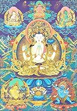 Shadakshari Lokeshvara (Tibetan Buddhist Chenrezig) - Tibetan Thangka Painting