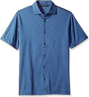 Bugatchi Men's Modern Trim Fit Full Button Melange Cotton Knit Shirt
