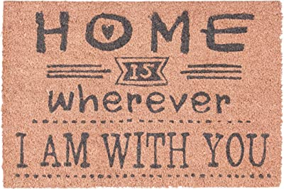 "Relaxdays Coir Doormat ""Home is Wherever I'm with You"" Welcome Mat with Anti-Slip PVC Underside, Floor Mat Made of Coconut Fibre, Pink"